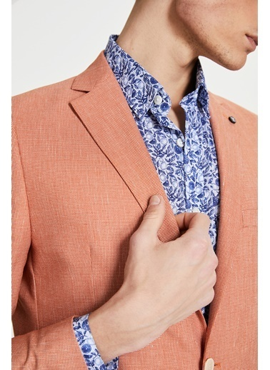 Tween Slim Fit Desenli Kumaş Ceket Oranj